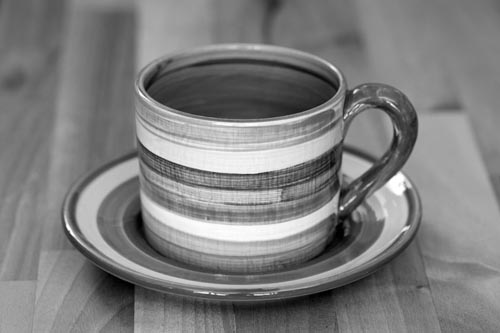 Black and White small cup and saucer in Banded