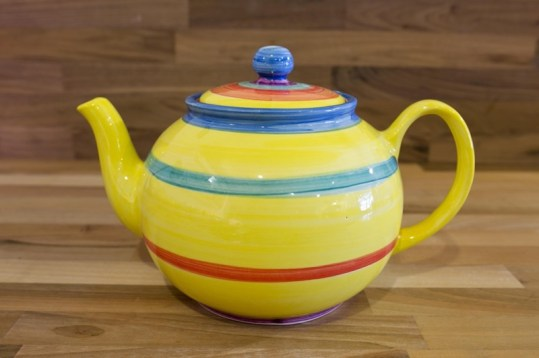Horizontal Stripey extra large Teapot in Yellow