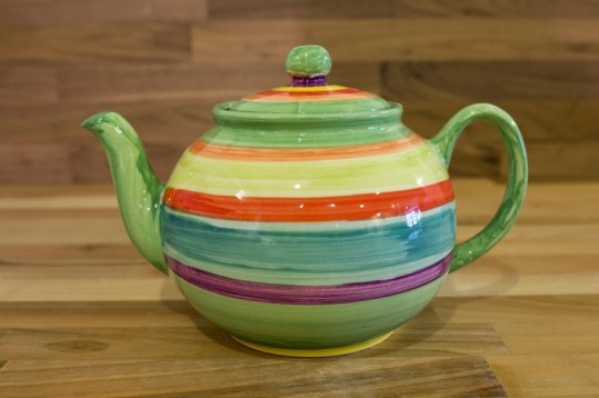 Horizontal Stripey extra large Teapot in green