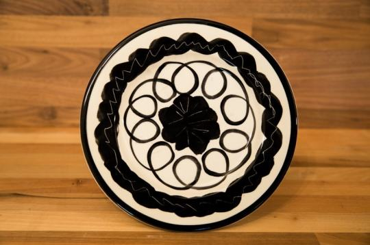 Black and White 8″ side plate in Scribble