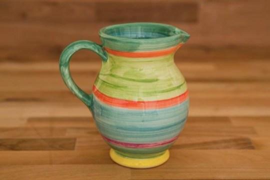 Horizontal Stripey small jug in Green