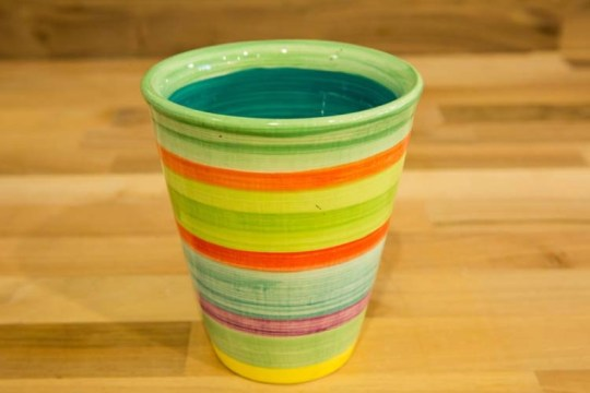 Horizontal Stripey large tapered beaker in Green
