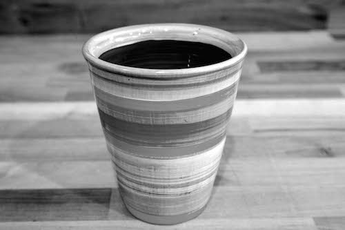 Black and White large tapered beaker in Scribble