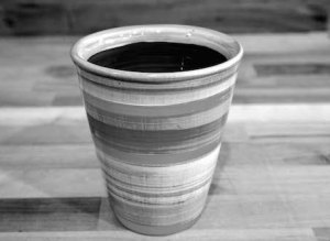 Black and White large tapered beaker in Broad Stripe