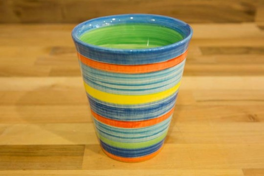 Horizontal Stripey large tapered beaker in Blue
