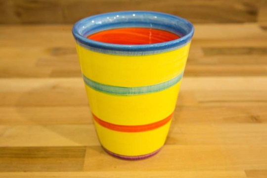 Horizontal Stripey large tapered beaker in Yellow