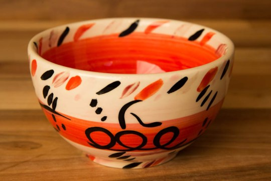 Abstract sugar bowl in red