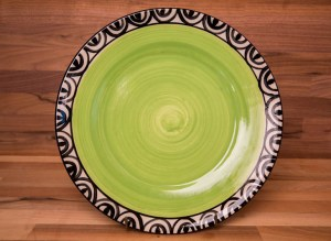 Aztec 11″ dinner plate in lime green