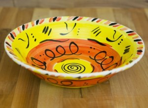 Abstract pasta bowl in yellow Reckless Designs