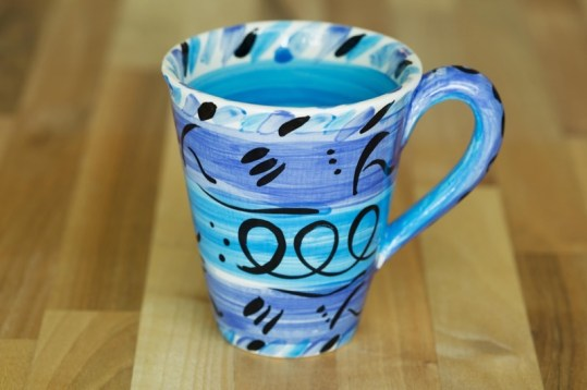 Abstract small tapered mug in blue
