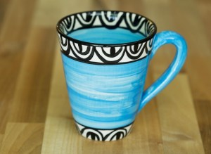 Aztec small tapered mug in bright blue Reckless Designs