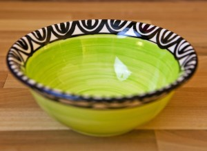 Aztec cereal bowl in lime green