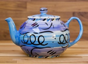 Abstract medium teapot in blue