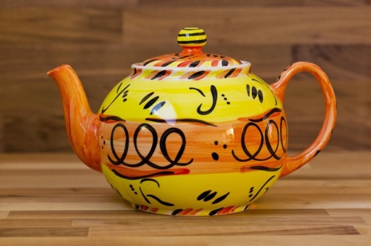 Abstract extra large Teapot in yellow