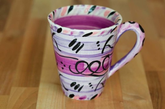 Abstract small tapered mug in purple