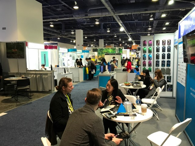 Chilling out at the end of the CES world. Smaller stalls with cables, speakers, phone cases, you name it, there's a booth hidden away at CES.