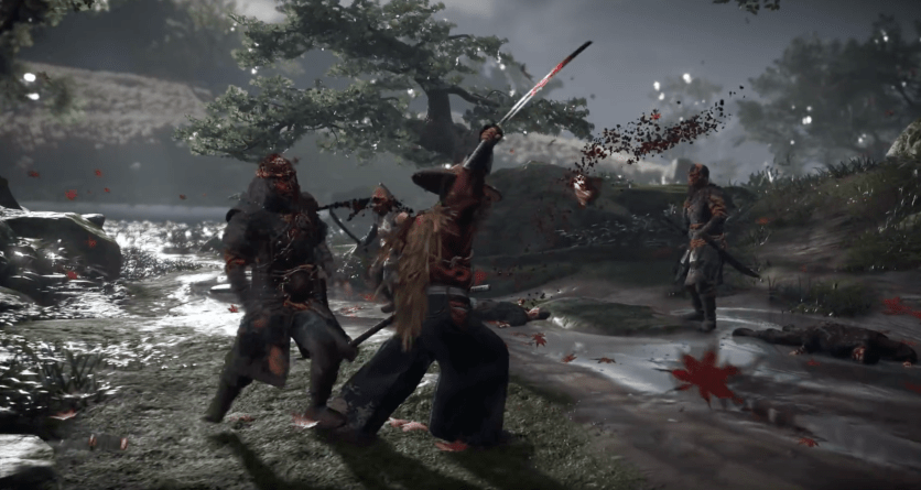 Mud and blood interact with the player and their clothing