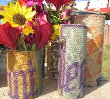 potato sack vases
