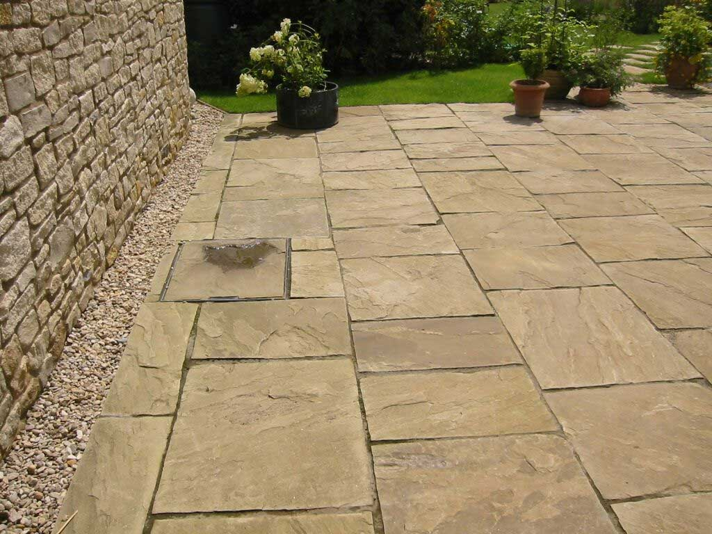 graded yorkstone patio
