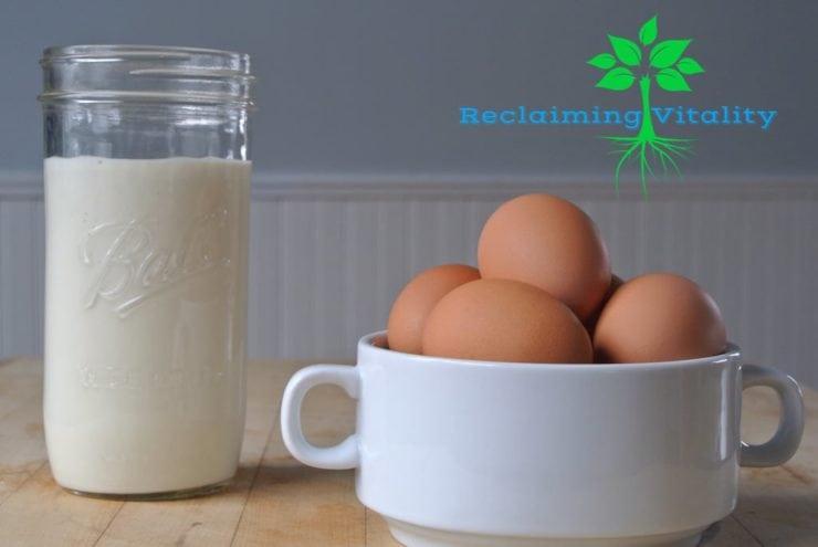 mayo with eggs cuting board