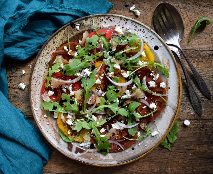 Heirloom Tomato Salad with Grapefruit, Feta, Arugula, and Balsamic Drizzle