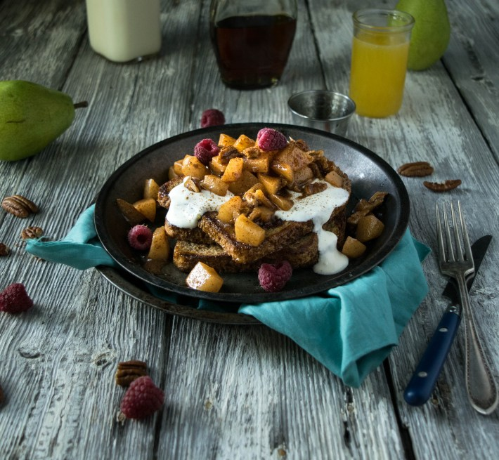 Sprouted French Toast with Creme Fraiche and Brandy-Pear-Pecan Compote