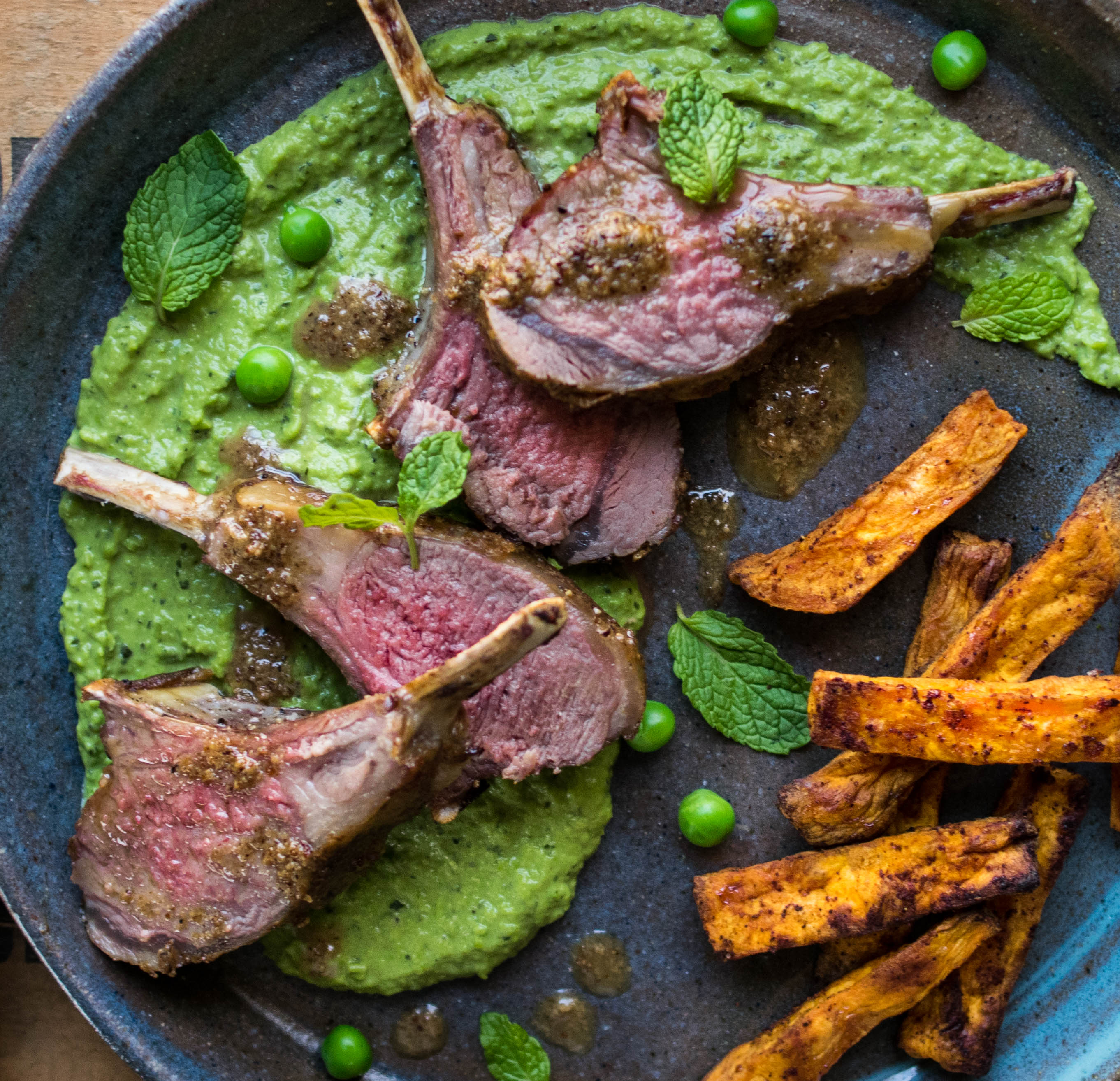 served it over a mint and pea puree with some baked sweet potato ...