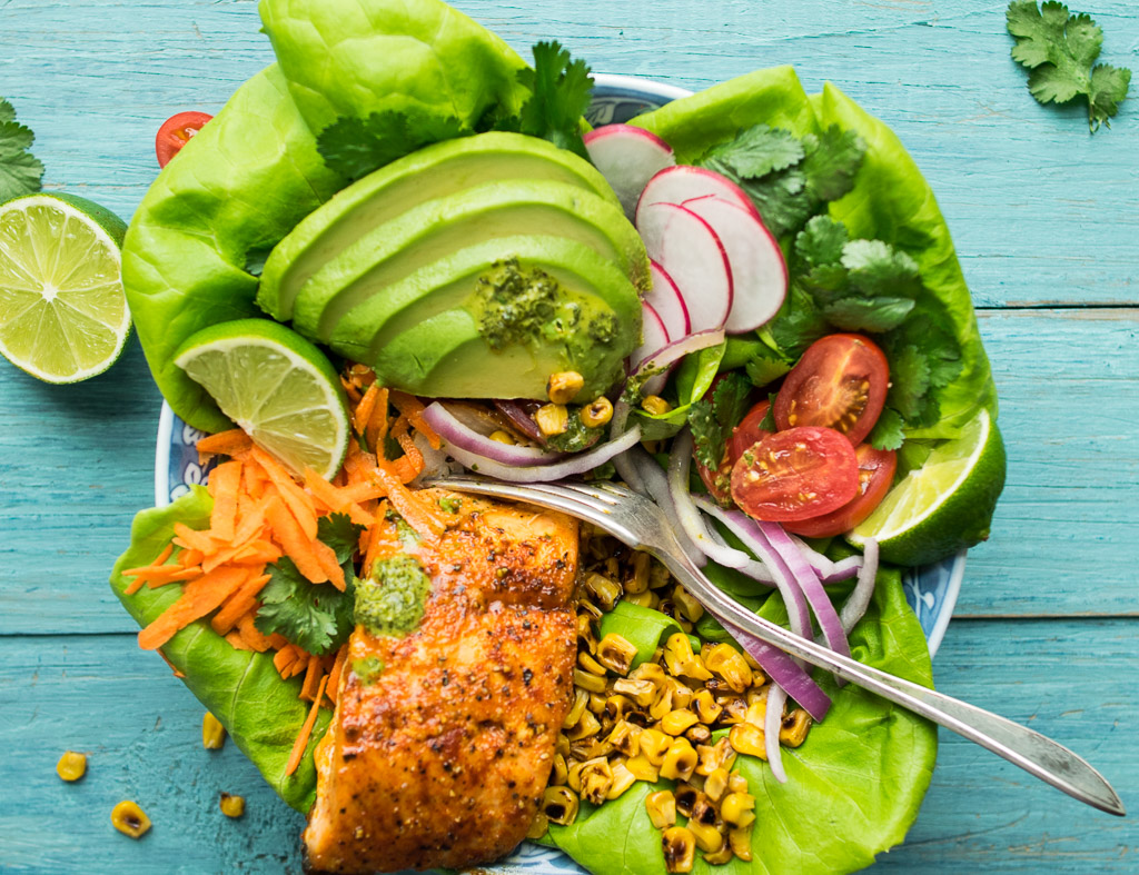 Maple Ancho Glazed Salmon Salad with Cilantro Lime Vinaigrette