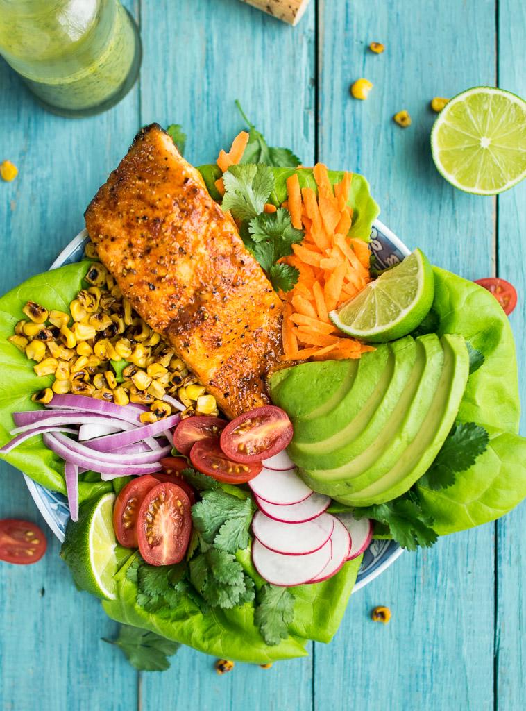 Maple Ancho Glazed Salmon Salad with Cilantro Lime Vinaigrette