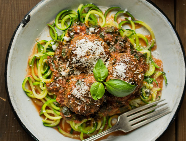 Wild Boar and Mushroom Meatballs with Zucchini Noodles
