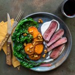 Seared Venison Medallion with Horseradish Cream and Maple Candied Sweet Potatoes