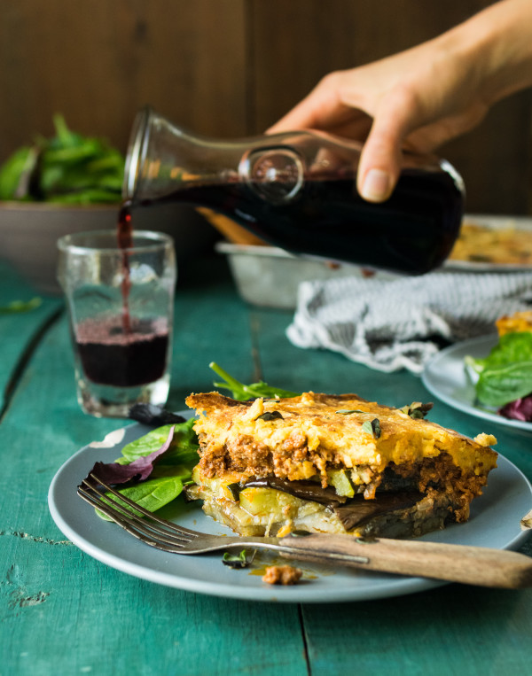 Eggplant Moussaka with Chickpea Bechamel