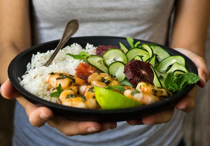 Mojito Shrimp with coconut rice