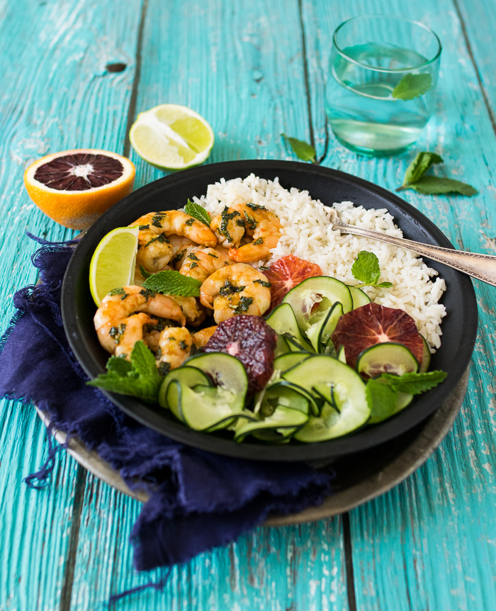 Mojito Shrimp with coconut rice