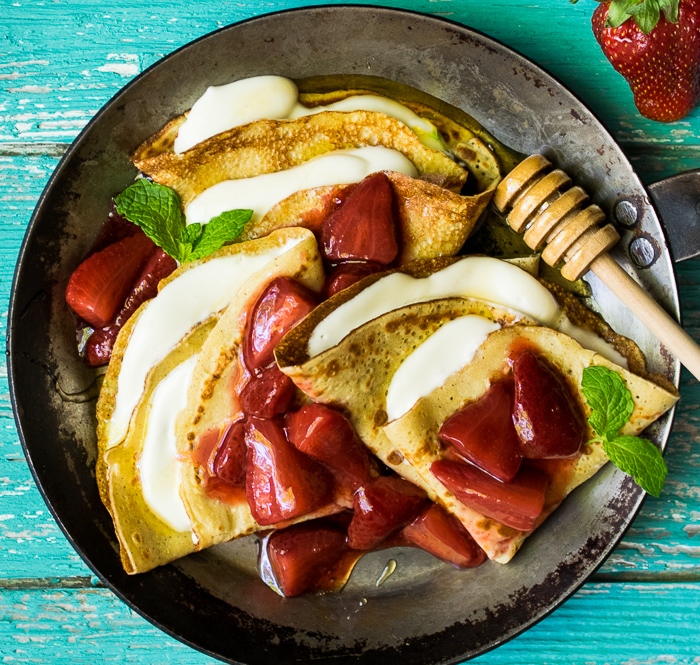 chickpea flour crepes honey goat cheese_