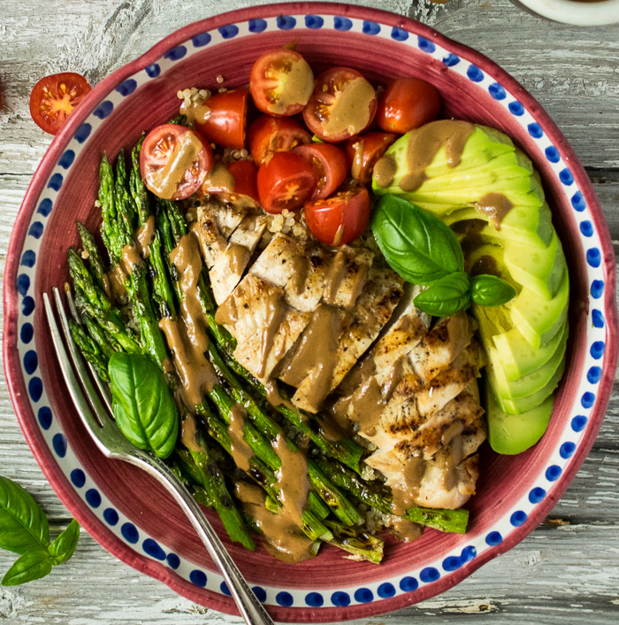 Grilled Chicken and Asparagus Bowls with Creamy Balsamic Dressing | Reclaiming Yesterday