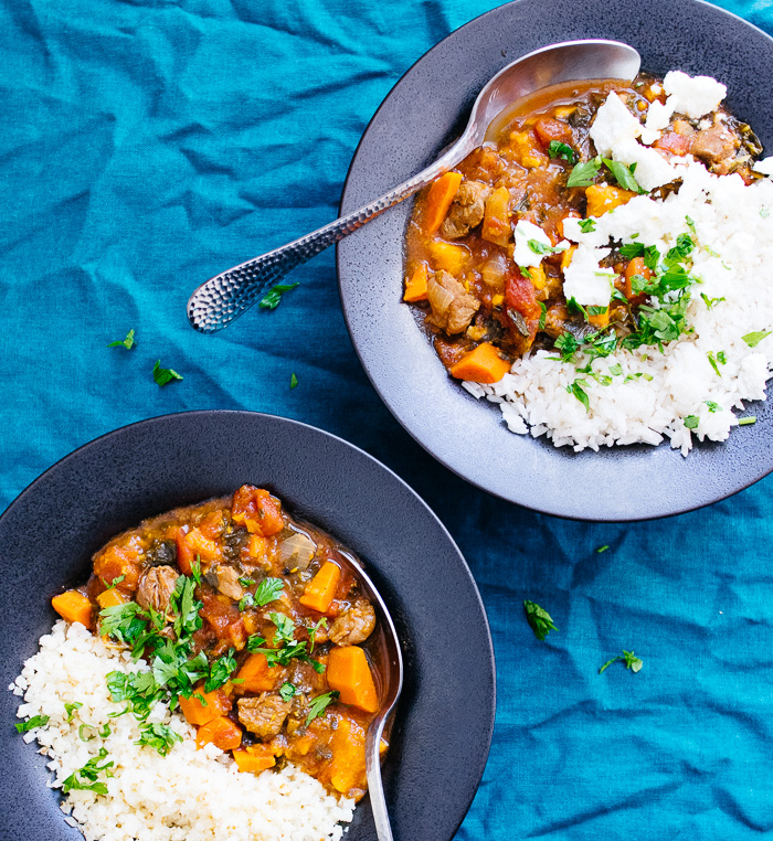 image of 2 bowls of Instant Pot Moroccan Lamb Stew | Reclaiming Yesterday