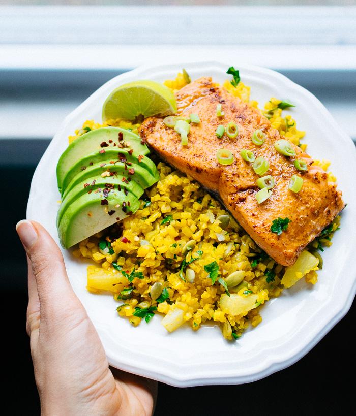 Pineapple and Turmeric Cauliflower Rice with Salmon | Reclaiming Yesterday
