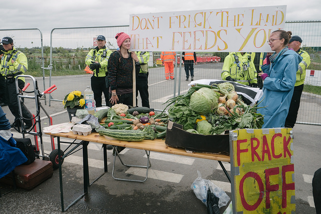 Farmers host communal meal against fracking at Preston New Road