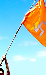 The spiritual swastika flag held high