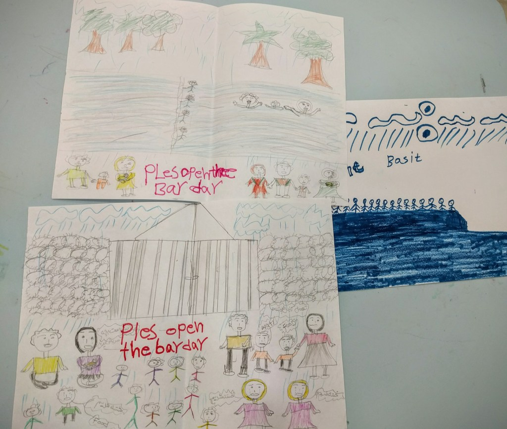 Drawings by refugee children illustrate details of their journeys, from traveling to Europe by sea to being stuck in refugee camps.