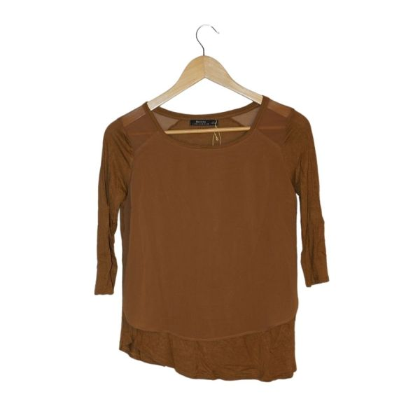 Blusa de dois tecidos em caramelo - reCloset roupa em segunda mão