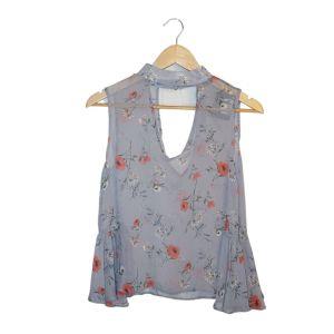 Blusa cinza florida - reCloset roupa em segunda mão