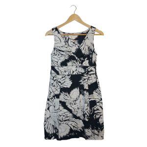 Vestido preto e branco cruzado - reCloset roupa em segunda mão