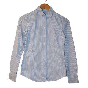 Camisa branca às riscas azuis - reCloset roupa em segunda mão