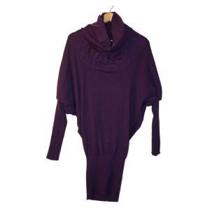 Camisola de malha roxa de gola alta - reCloset roupa em segunda mão