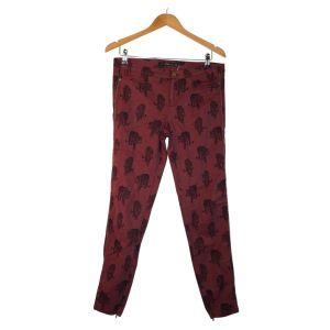 Calças bordeaux com padrão de tigres - reCloset roupa em segunda mão