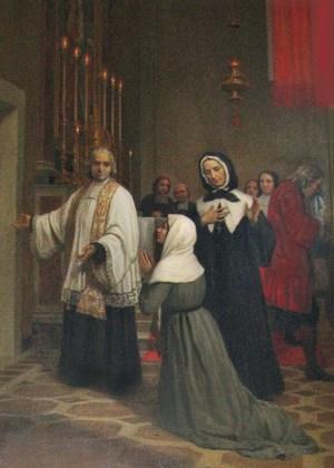 Entrée en réclusion de Jeanne Le Ber le 5 août 1695 Peinture de Bottoni, 1908