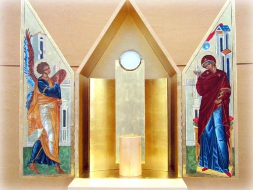 Tabernacle entouré par l'icône de l'Annonciation