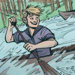 Robbie in a canoe